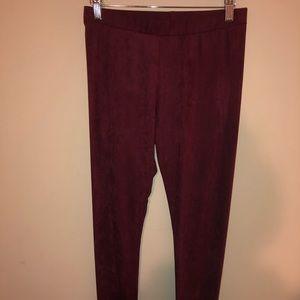 Pants - Maroon velvet leggings